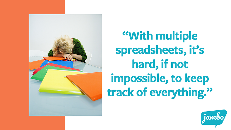 """Woman with her head down feeling frustrated with spreadsheets. Quote says """"with multiple spreadsheets, it's hard, if not impossible, to keep track of all your stakeholder information, which is problematic for building stakeholder relationships"""""""