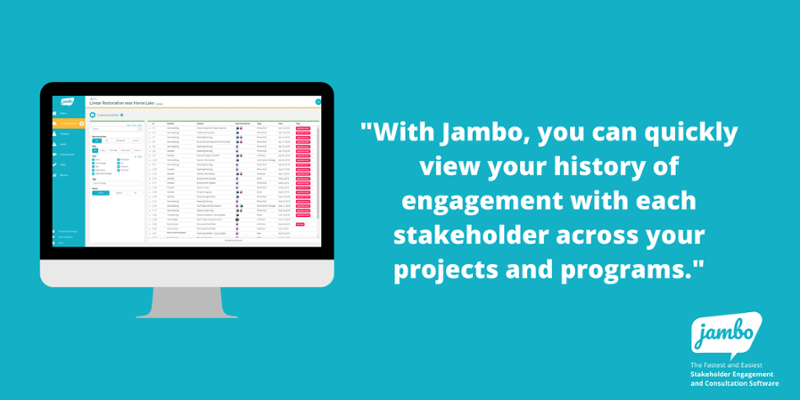 with Jambo, you can quickly view your history of stakeholder engagement with each stakeholder across your stakeholder projects and programs.