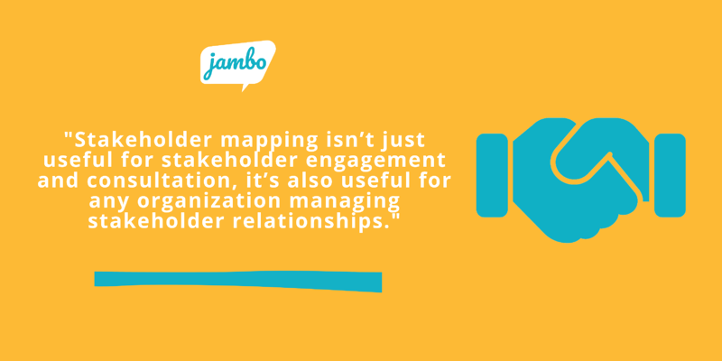 Stakeholder mapping isn't just useful for stakeholder engagement and consultation, it's also useful for any organization managing stakeholder relationships
