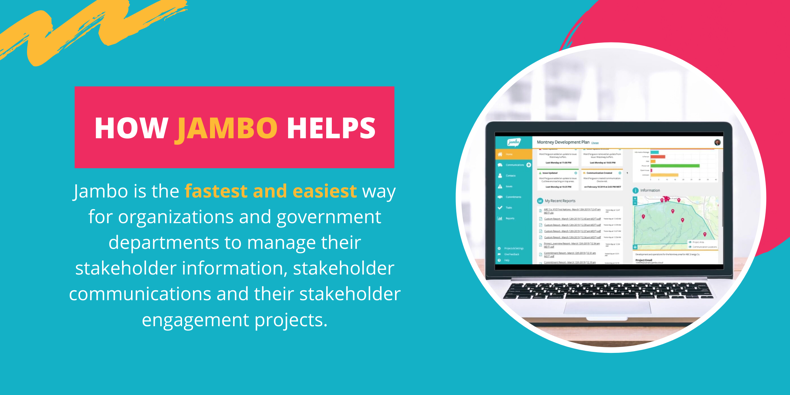 Jambo is the fastest and easiest way for organizations and government departments to manage their stakeholder information, stakeholder communications and their stakeholder engagement projects