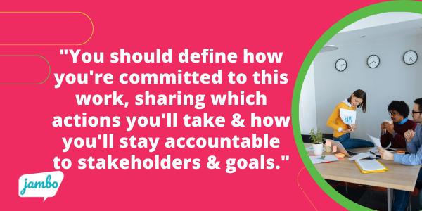 Within your ESG strategy, you should clearly define how you're committed to this work, sharing which actions you will be taking and how you'll stay accountable to your stakeholders and your goals.