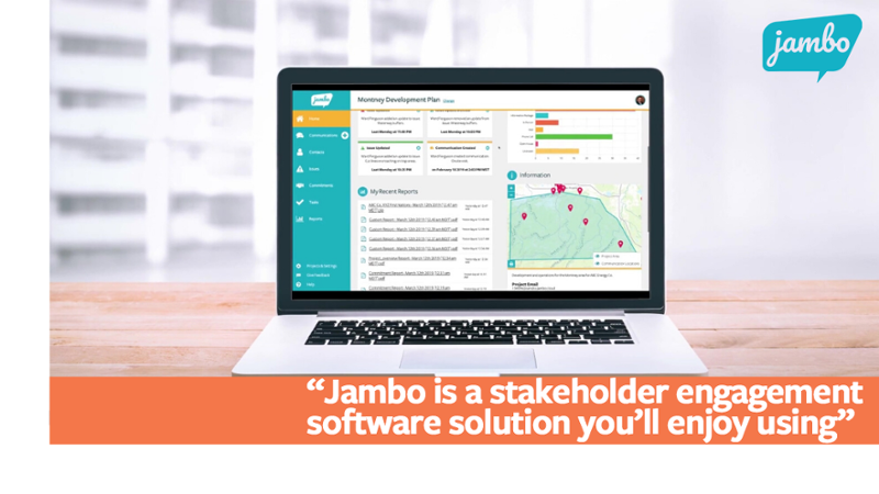 """Jambo SRM software open on a desktop with the quote """"Jambo is a stakeholder engagement software solution you'll enjoy using"""" Jambo helps to organize your stakeholder information and frees you and your team to focus on building strong stakeholder relationships"""