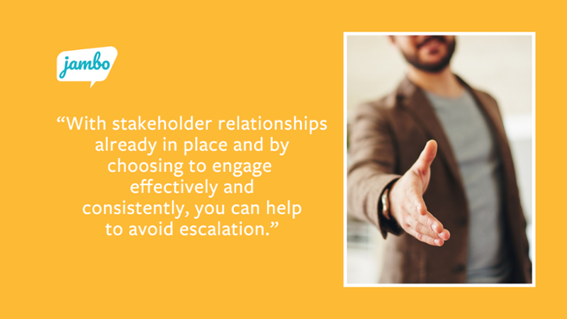 With stakeholder relationships already in place and by choosing to engage effectively and consistently, you can help to avoid escalation quote with hand shaking