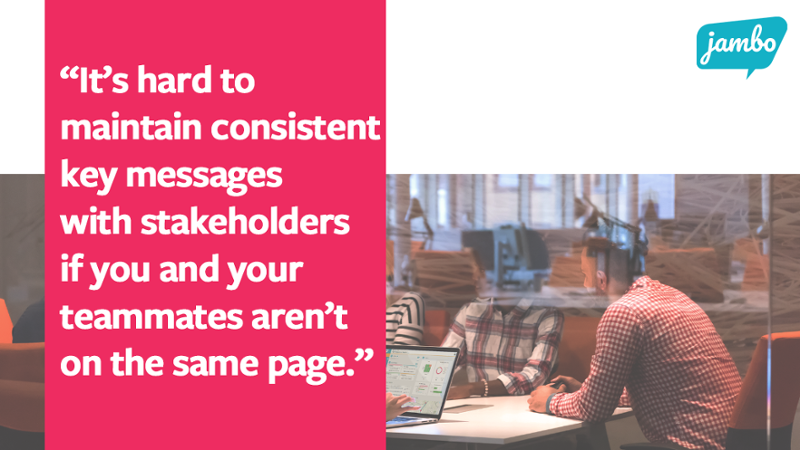 """Team working with Jambo with the quote """"Its hard to maintain consistent key messages with stakeholder information if you and your teammates arent on the same page, and this breaks down trust and stakeholder relationships"""""""