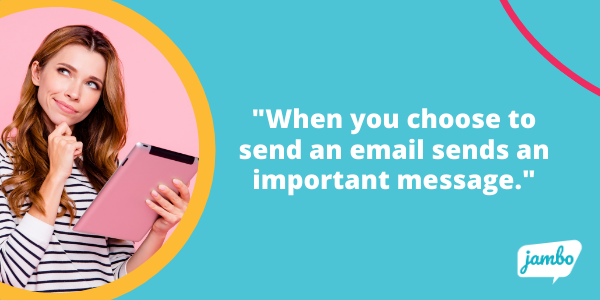 Stakeholder email tip: when you choose to send an email sends an important message to stakeholders