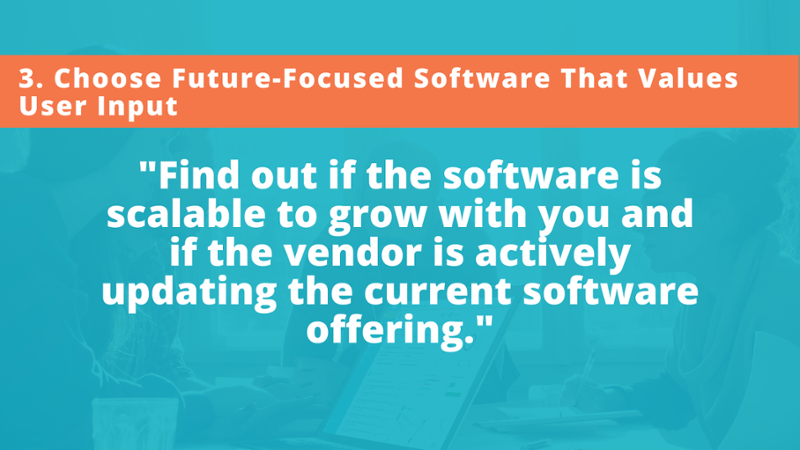 find out if the stakeholder relationship management (SRM) software is scalable to grow with you and if the vendor is actively updating the current software offering.