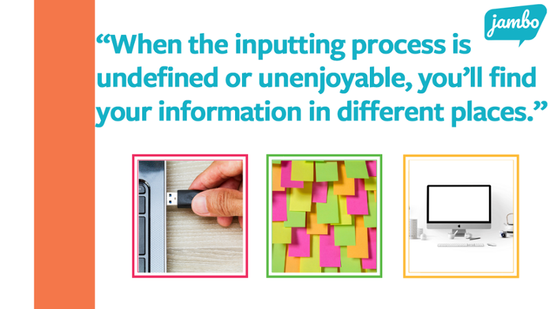 """Image of a USB, post-it-notes, and a desktop with the quote """"When the inputting process for your stakeholder information is undefined or unenjoyable, you'll find your information in different places, which can hurt your stakeholder relationship efforts."""""""