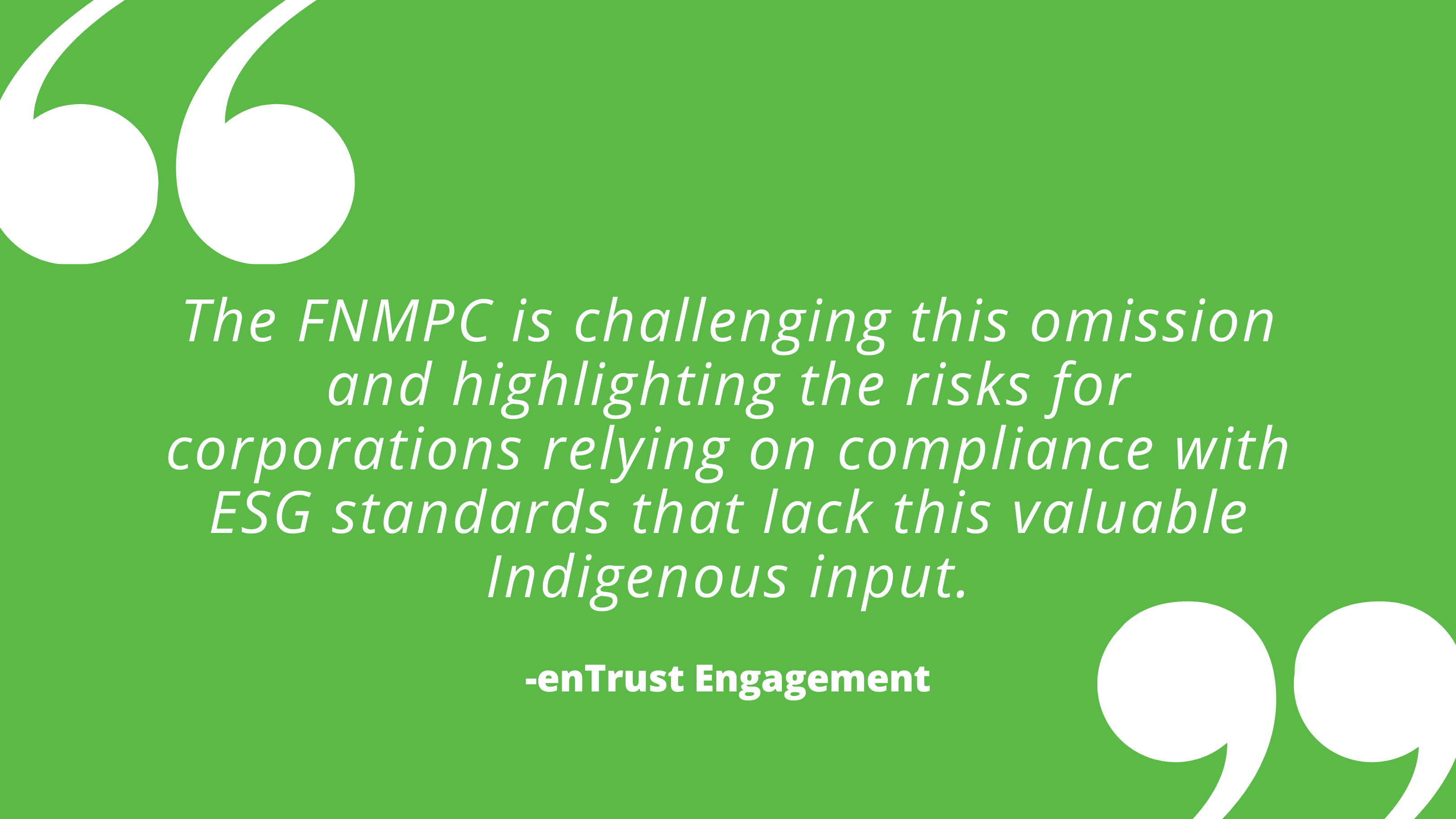 The FNMPC is challenging this omission and highlighting the risks for corporations relying on compliance with ESG standards that lack this valuable Indigenous input.