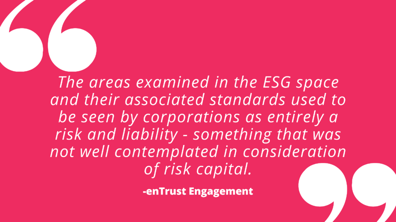 The areas examined in the ESG space and their associated standards used to be seen by corporations as entirely a risk and liability – something that was not well contemplated in consideration of risk capital.