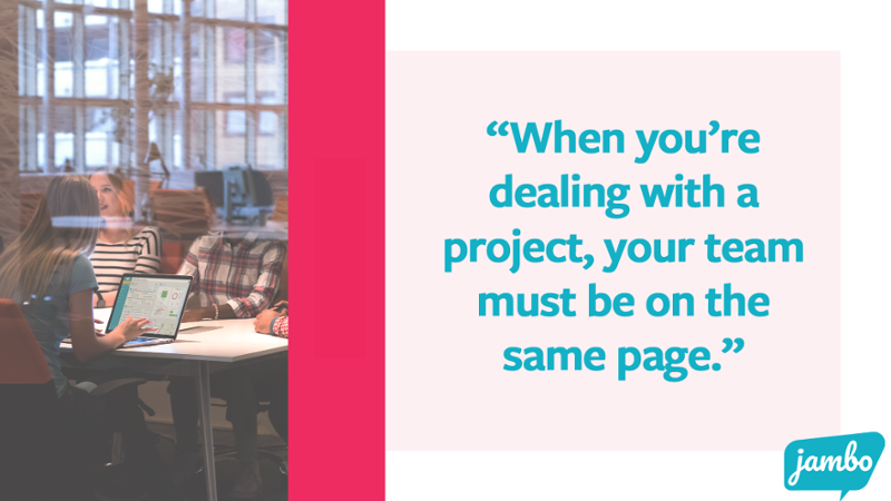 """Team working with Jambo. Quote says """"When dealing with a project, your team must be on the same page with what to do when they collect stakeholder information to build strong stakeholder relationships."""""""