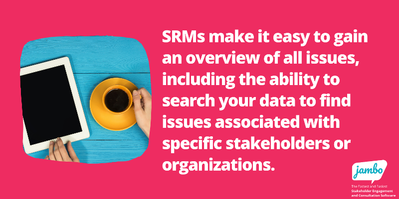 stakeholder project overview with stakeholder relationship management software